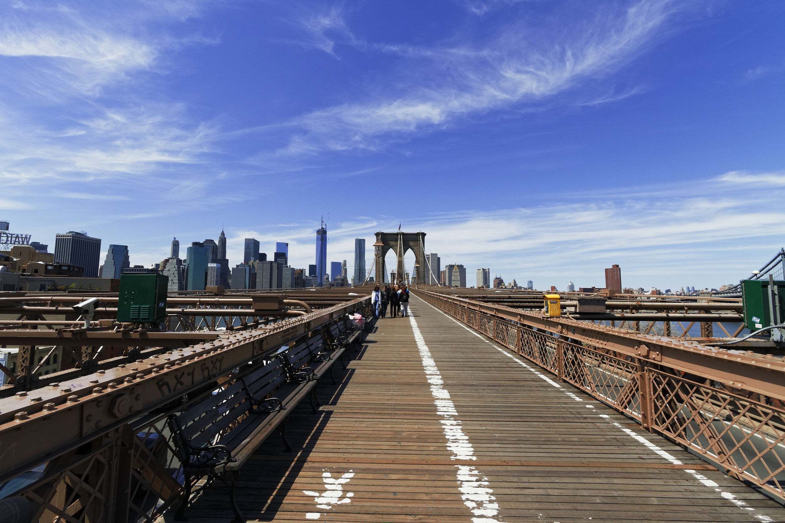 44191692 - views of historic brooklyn bridge in new york city.