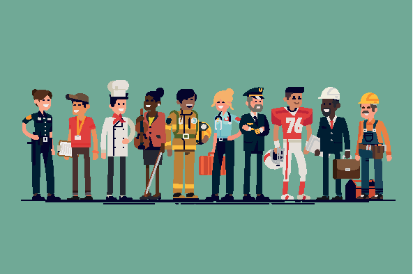 Cartoon of 10 people in varying career uniforms