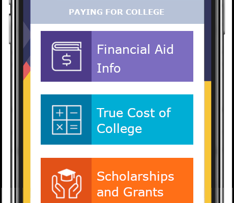 Screenshot of Paying for College Section, buttons: Financial Aid Info, True Cost of College, Scholarships and Grants